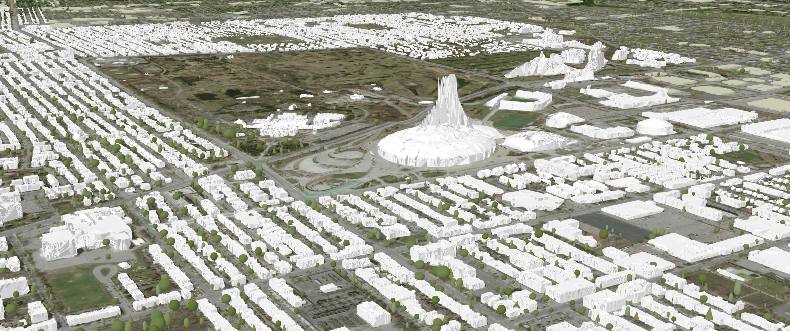 3D scene around Parc Olympique in Montreal. Buildings derived from lidar data.